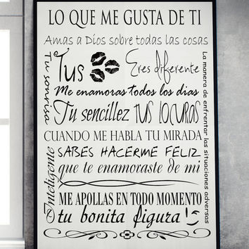 Lo que me gusta de ti Printable Wall Art spanish wall home decor poster print INSTANT DOWNLOAD