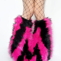 MADE TO ORDER Pink and Black striped Fluffies gogo bootcovers rave gogo fuzzies stripes