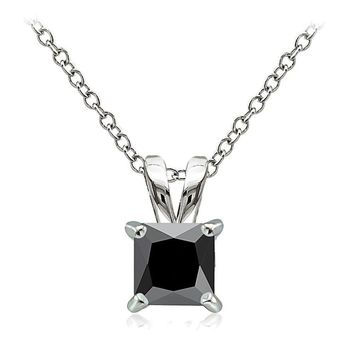 925 Sterling Silver 2ct Black Cubic Zirconia 7mm Square Solitaire Necklace