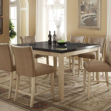 Acme 71760-62 7 pc Faymoor antique white finish wood limestone marble top counter height dining table set
