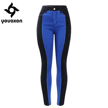 2131 Youaxon New Plus Size High Waist Patched Jeans Woman Black & Blue Stretchy Denim Skinny Pants Trousers For Women Jeans