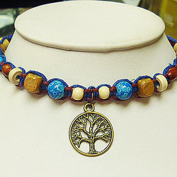 Moonlight Tree of Life  Hemp Necklace  Choker   hippie   handmade macrame jewelry