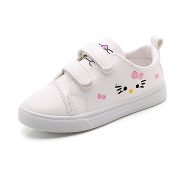 KINE PANDA Big Girls Shoes Hello Kitty Princess PU Leather Children Casual Sneakers Flatform Shoes Embroidered White Pink 2-10Y