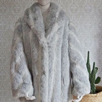 Vintage 1980s Faux Fur + Fluffy Luxury Coat
