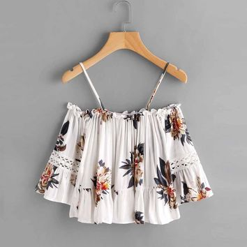 FEITONG Sexy Summer Camis Top Women Floral Printing Lace Casual Off Shoulder Crop Top Cluster Print Peplum Racerback Cami Top