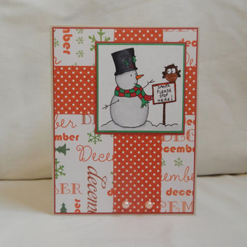 Christmas Card, Paper Handmade Greeting Card, Merry Christmas, Snowman, Happy Holidays, Season Greetings, December, White, Red, Blank Card