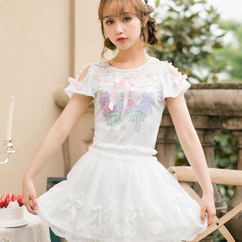 Princess sweet lolita Short sleeved shirt for summer 2017 new arrival Candy Rain  printing butterfly mosaic shirt C22AB7104