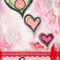 "Whimsical Mixed Media, Love, Uplifting Decorative Wall Art, Red and Pink, Inspirational, Affirmation, Giclee Print, 12"" x 18"" or 30 x 45 cm"