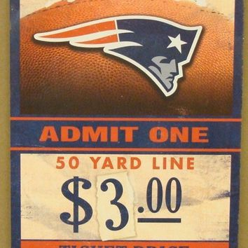 "NEW ENGLAND PATRIOTS GAME TICKET ADMIT ONE GO PATS WOOD SIGN 6""X12'' NEW"