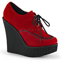 Demonia Creeper 302 Red Vegan Suede Wedge Oxford Shoe