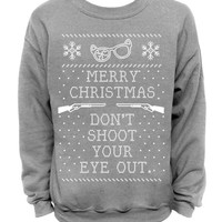 Ugly Christmas Sweater - Gray Mens CREW - Don't Shoot Your Eye Out
