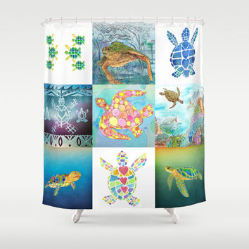 "Sea Turtle Collage Shower Curtain  ""Tic Tac Turtle"" Blue, green,  Surf, beach, surfer, teen decor, honu, coastal bathroom"