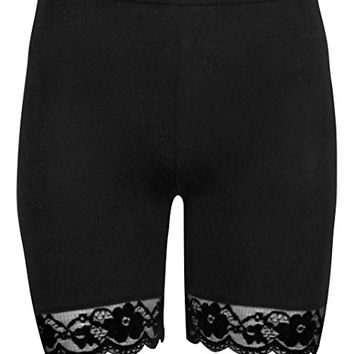 Women's Lace Trim Jersey Gym Bike Cycling Hot Pants Tights Shorts