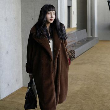Stylish Notched Lapel Collar Hairy Shaggy Faux Fur Coat New Woman With Belt Faux Fur Jackets Long Keep Warm Outerwear