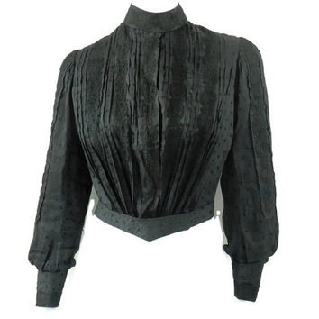 Victorian Mourning Blouse with Built In Corset