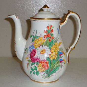 Royal Chelsea Summer Flowers Coffee/Teapot Fine Bone China Made in England  Free Standard Shipping in the U.S.