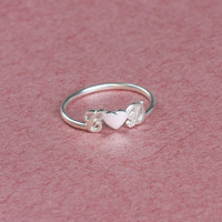 Personalized Name Ring With Heart - Lover Gift - Custom Ring