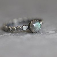 Labradorite Ring, Rose Cut, Flashy Blue, AAA, Beaded, Dotted, 6mm, Stacking Ring, Bezel Set, Sterling Silver, Solitaire Ring, SIZE 7.5