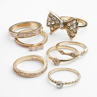 Candie's® Gold Tone Simulated Crystal Bow, Flower & Textured Stack Ring Set