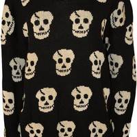 PaperMoon Women's Plus Size Long Sleeve Skull Pattern Sweater