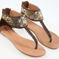 Sequins & Woven Leather Flat Sandals