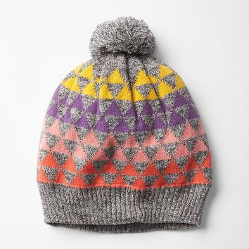 Gap Girls Geometric Fair Isle Pom Pom Beanie