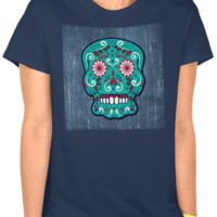 Lady's Green Sugar Skull on Denim & Navy T-Shirt