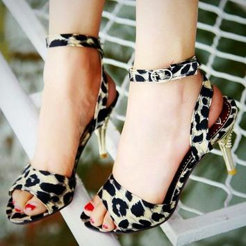 Sandals Leopard Print Women's Open Toe Clubwear Stiletto High Heel Pumps Shoes