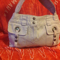 Beige, faux corduroy repurposed  skirt handbag