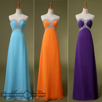 Empire Sweetheart Chiffon Formal Evening Party Ball Gown Bridesmaid Prom Dresses