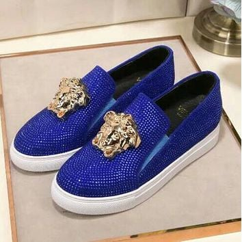 """Hot Sale """"Versace"""" Slip-On Popular Women Men Casual Leather Water Drill Flat Sneakers Sport Shoes Blue I13143-1"""