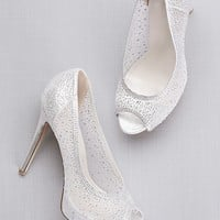 Sheer Mesh Peep-Toe Platform Heels with Crystals | David's Bridal