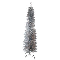 "6' x 20"" Pre-Lit Silver Tinsel Artificial Christmas Tree- Clear Lights"