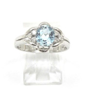 GENIUNE AQUAMARINE AND DIAMOND RING IN SOLID 18K WHITE GOLD