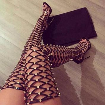 Metal Stud Cover Thigh Gladiator Boots Peep Toe Cut Outs Long High Heel Boots