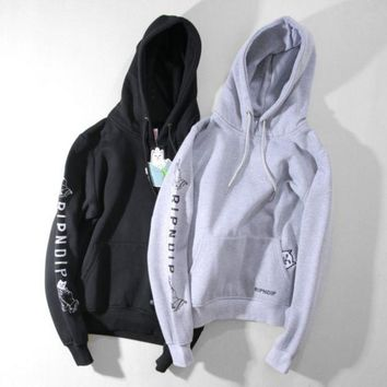 DCCKB62 Ripndip Fashion Casual Print Hoodie Long Sleeve Pullover Sweater
