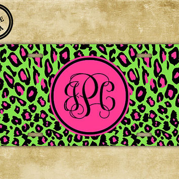 Personalized monogram license plate, front license plate - Lime green Leopard print monogrammed - hot pink animal print car tag (9626)