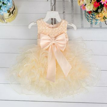 Retail Cute Pearls Pattern Girl Dresses Appliques Tiered Wedding Dress Knee-Length Organza Girls Party Dress L1819XZ