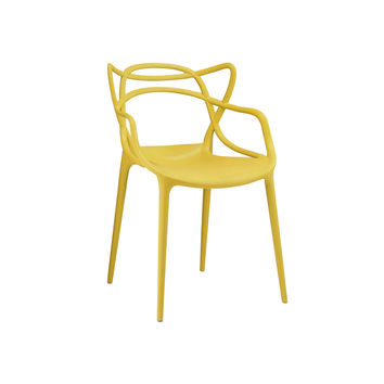 Masters Yellow Polypropylene Modern Stackable Arm Chair (Set of 4)   Overstock.com Shopping - The Best Deals on Dining Chairs