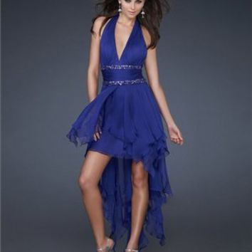 High-low Halter Plunging V-neck with Beaded Waistbands Chiffon Prom Dress PD1924
