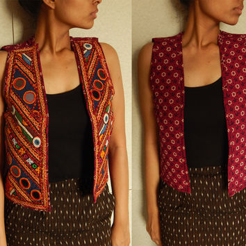 Embroidered Vest Indian Waistcoat Bohemian Jacket