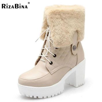RizaBina Size 34-43 Women High Heel Boots Platform Cross Strap Boots Warm Fur Shoes Winter Botas Mid Calf Boots Women Footwears