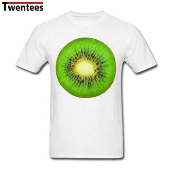 White Short Sleeve Custom Kiwi fruit Vegan Shirt Men Boy Fashion 3XL Family Shirts