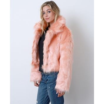 Flirty Femme Faux Fur Coat - Orange