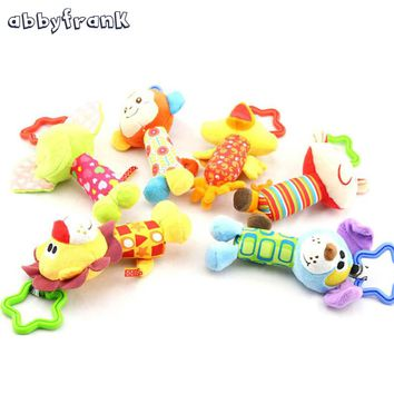Abbyfrank Infant Baby Rattles Cartoon Toys Rattle Plush Hand Bell Toy Multifunctional Stroller Rattle Bell For Newborn Toys