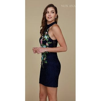 Navy Blue Halter Embroidered Lace Sexy Homecoming Short Dress