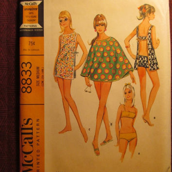 SALE Uncut 1960's McCall's Sewing Pattern, 8833! Size 12-13-14 Misses/Juniors/Women's/Bathing Suits/Bikini Tops/Bottoms/Cape/Toga & Pinafore