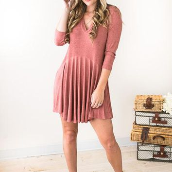 Song In My Soul V-Neck Tunic Dress- Cinnamon