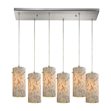 10442/6RC Capri 6 Light Pendant In Satin Nickel And Capiz Shell - Free Shipping!