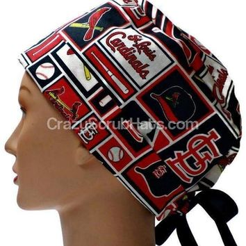 Women's Pixie Surgical Scrub Hat Cap in St Louis Cardinals